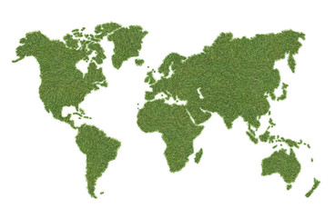 Aluminium Prints World Map green world