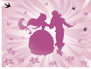 Dancing Prince and Princess - Abstract Background Pink