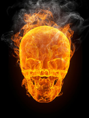 Photo sur Aluminium Flamme burning skull