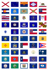 US States Flags Poster