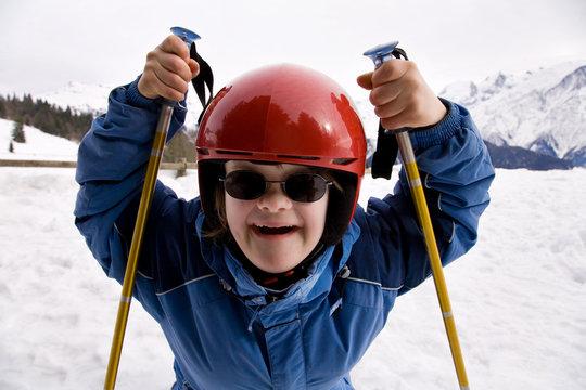 jeune fille trisomique à la neige
