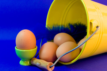 egg in green eggcup  isolated on blue. easter