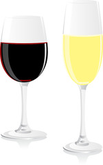 isolated white champagne and red wine glasses