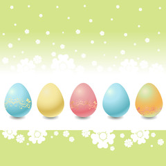 Easter Eggs on the beautiful floral background