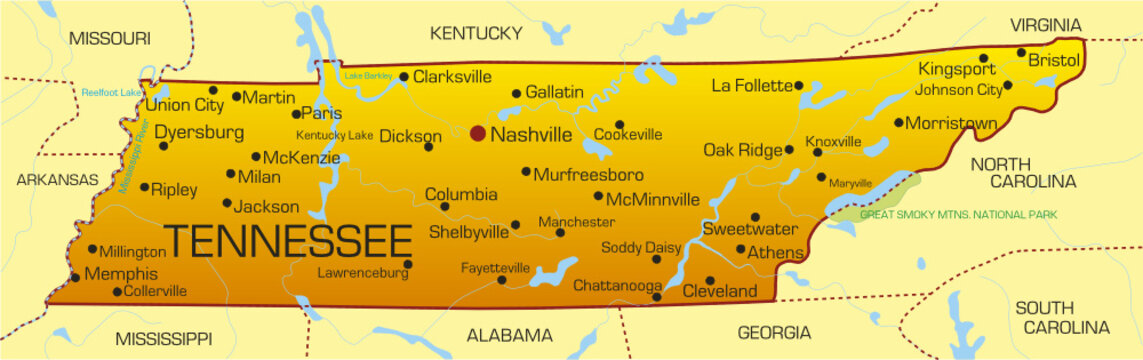 Vector color map of Tennessee state. Usa