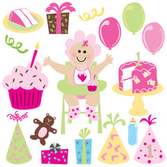 baby girl's first birthday party