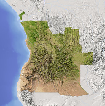 Angola, shaded relief map