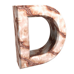 3d letter D in marble