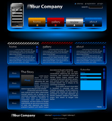 Black with blue full editable website template