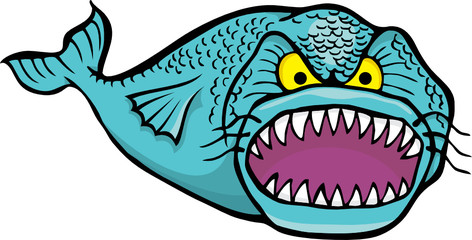 Big angry fish cartoon isolated on white