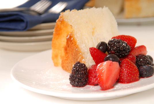Slice of Angel Food Cake with fresh fruit