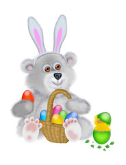 Bear in the suit of the Easter rabbit