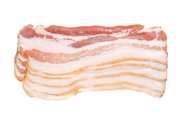 Few slices of tasty smoked bacon on white background