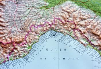 Carta geografica della Liguria