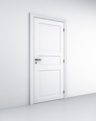 Door in white room