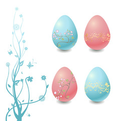 Easter Eggs with floral elements