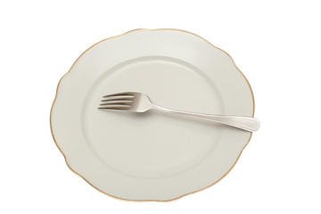 empty plate, fork