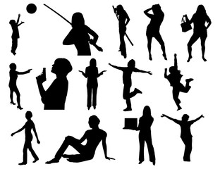 group of silhouette women