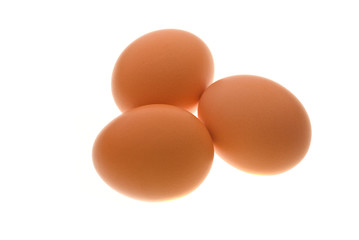 Three eggs isolated on white