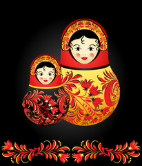 Matryoshka dolls with traditional Russian floral pattern