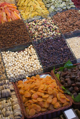 Nuts and candies at la boqueria market in Barcelona Spain