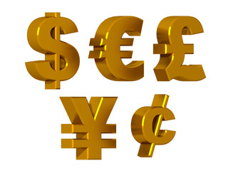 Currency symbols in gold