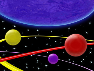 Garden Poster Cosmos Illustration of planets and orbits in space