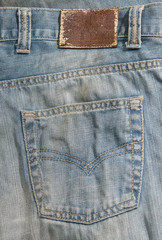 blue jeans cloth with leather label, texture