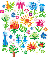 Abstract flower set .Vector illustration
