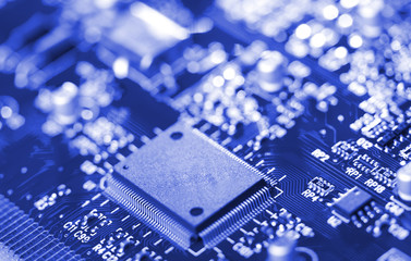 close-up microchip on circuit board