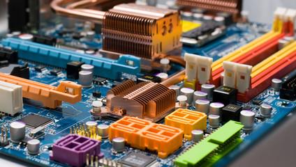 Electronic circuit close-up.