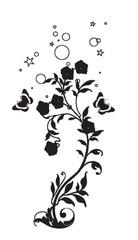 arabesque florals noirs et papillons