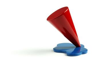 Modellino di cono verniciato rosso e blu