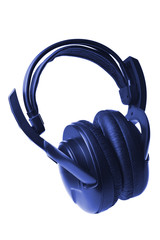 blue headphones isolated