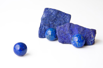 Rich blue Lapis Lazuli spheres and rough from Afghanistan