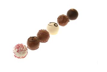 Assortment of chocolate pralines.
