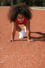 Girl on school track.