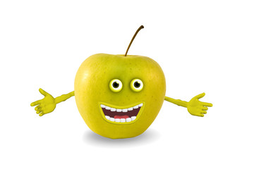 cartoon green apple. Objects over white. Photo and 3D.