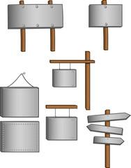 A set of metal signs