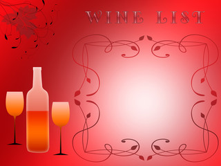 shapes of glasses and bottles for wine, floral ornaments