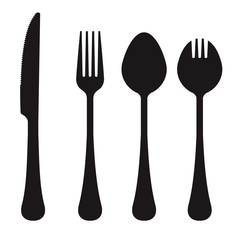 Vector silhouette of knife, fork, spoon, and spork