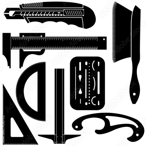 Vector Set Of Drafting Tools Stock Image And Royalty