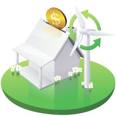 White American House Moneybox with Wind Turbine