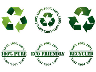 Recycle symbols and stamps