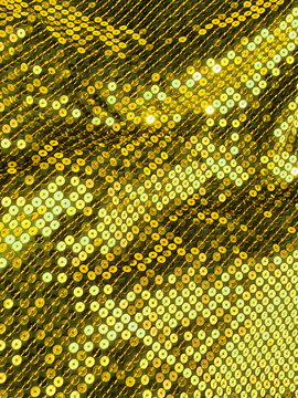 80s style golden sequined crochet fabric.