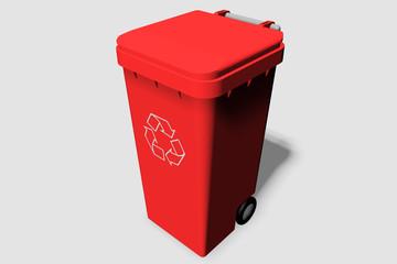cubo reciclar rojo