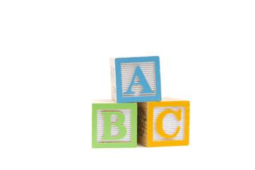 ABC in wooden child blocks