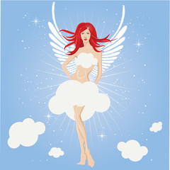 sexy fairy girl, angel vector illustration