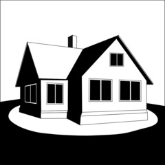 House on a hill. Vector.