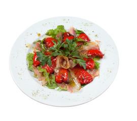 stewed ham vegetables.isolated